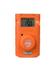 Crowcon Clip for detection of Hydrogen Sulphide. Bright orange casing with alarm lights flashing
