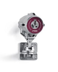 FGD Flame Detector with silver stainless steel casing and a red label to identify the UV-IR-HD model