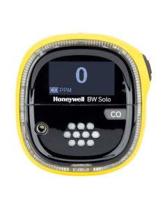 Yellow Honeywell BW Solo Single Gas Detector with grey label to identify detection of carbon monoxide (CO) gas.